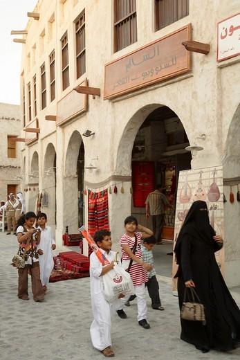 Qatar, Doha, Souq Waqif, street scene, shops, people. : Stock Photo