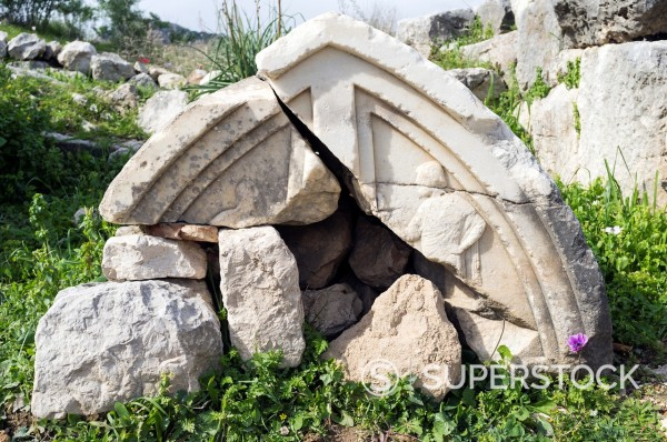 Stock Photo: 1566-1081828 Broken Lycian tomb, Xanthos, UNESCO World Heritage Site, Antalya Province, Turkey
