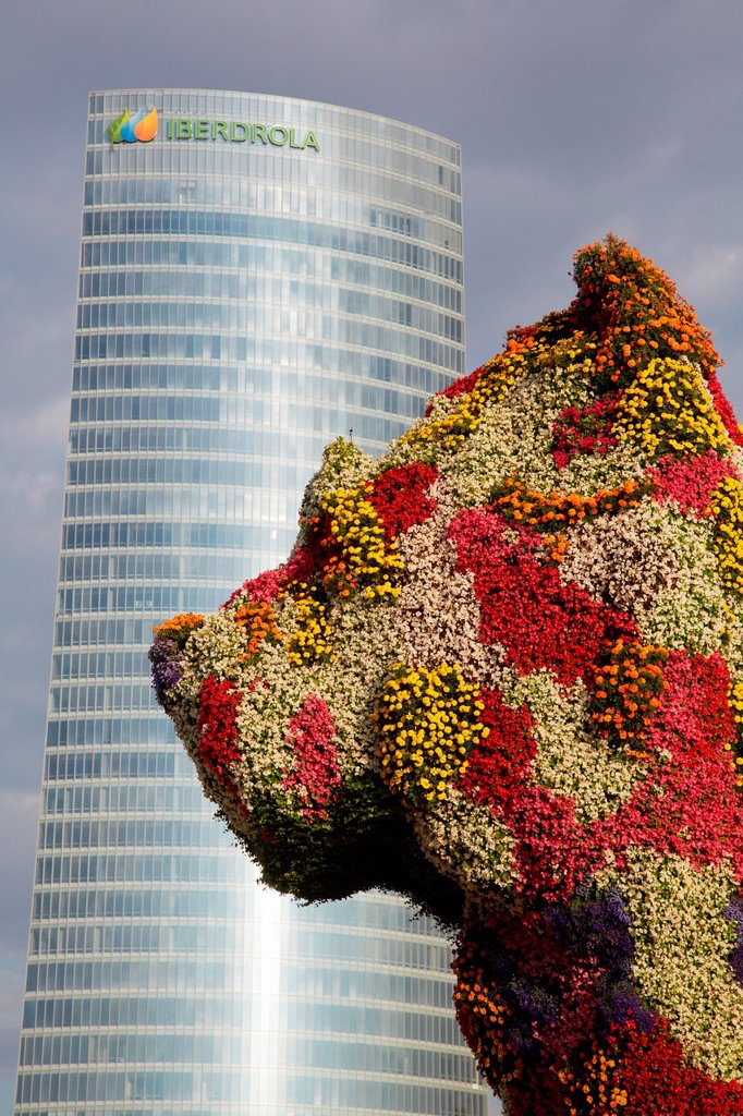Stock Photo: 1566-1081910 Guggenheim museum Puppy, Abandoibarra Avenue, Iberdrola tower, Bilbo-Bilbao, Biscay, Basque Country, Spain