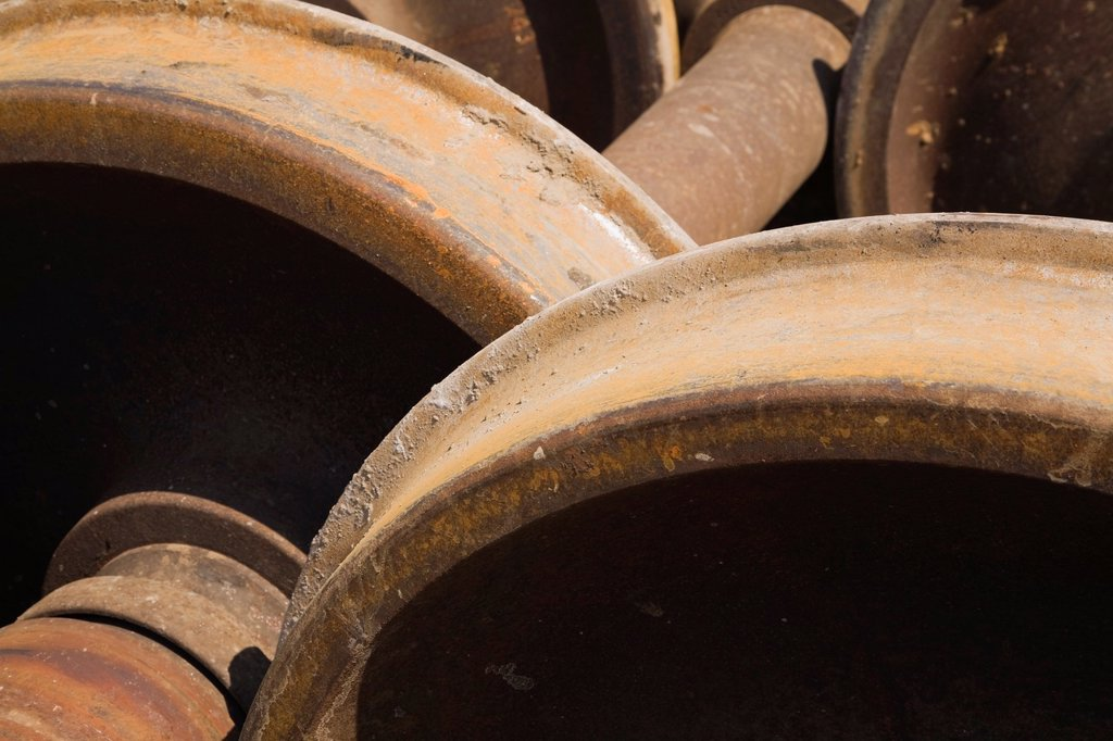 Stock Photo: 1566-1082003 Close-up of Steel Railway Car Wheels at a Scrap Metal Recycling Yard, Quebec, Canada