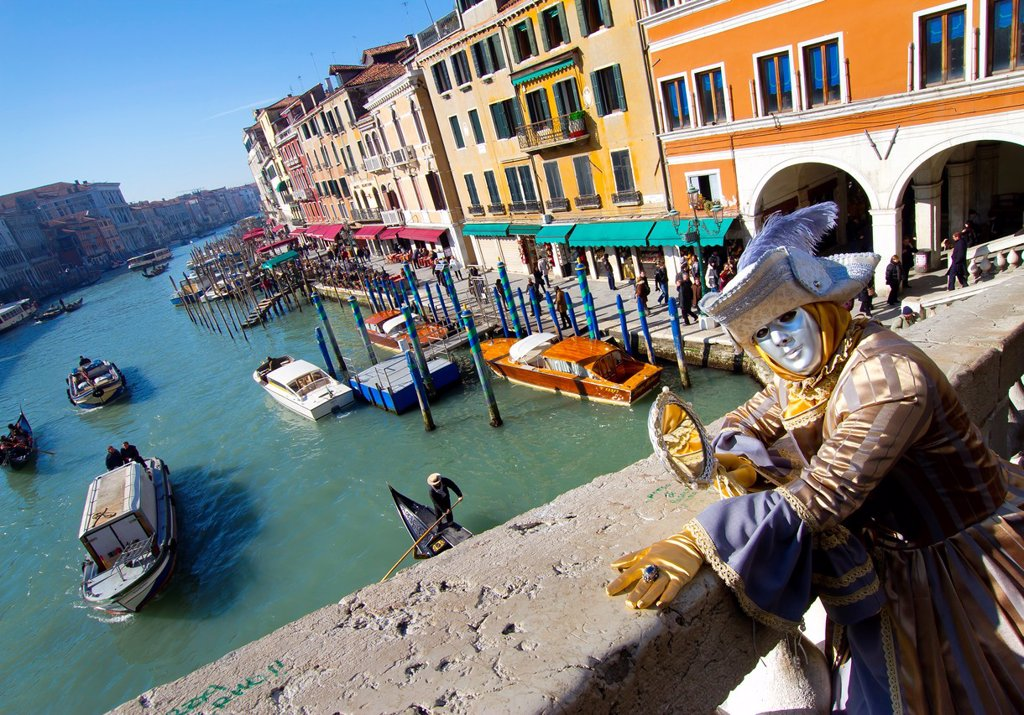 Stock Photo: 1566-1082836 woman with fancy dress in Carnival of Venice  Rialto Bridge  Venice, Italy