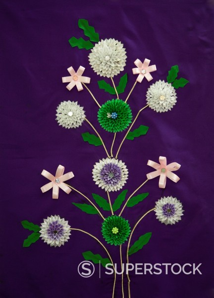 Indian Handicrafts, Flowers on Fabric  Dehradun, India : Stock Photo