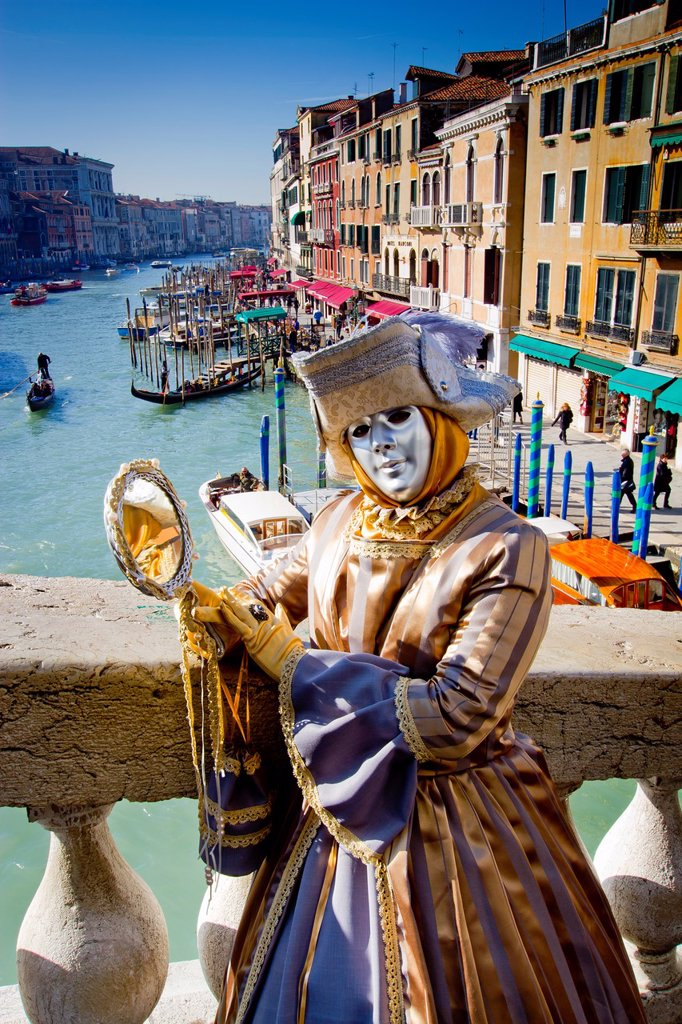 Stock Photo: 1566-1083192 woman with fancy dress in Carnival of Venice  Venice, Italy