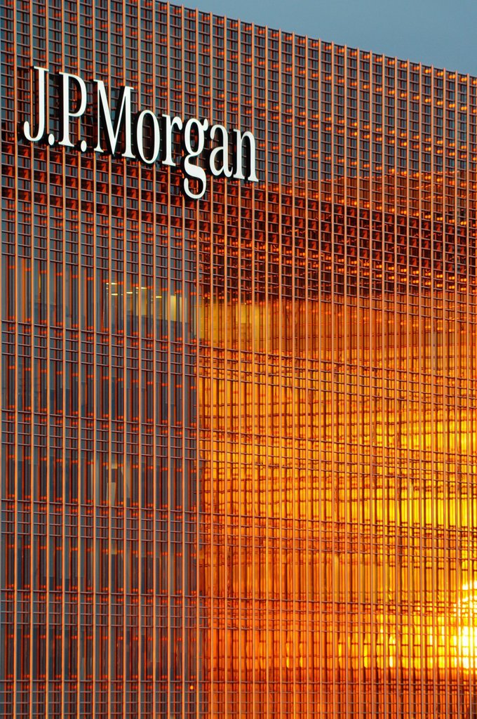 Stock Photo: 1566-1083347 US banking giant JP Morgan, Canary Wharf, business and banking district, London, England, United Kingdom.