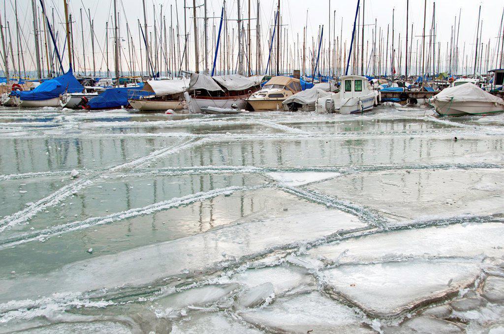 Versoix marina, winter, Switzerland : Stock Photo