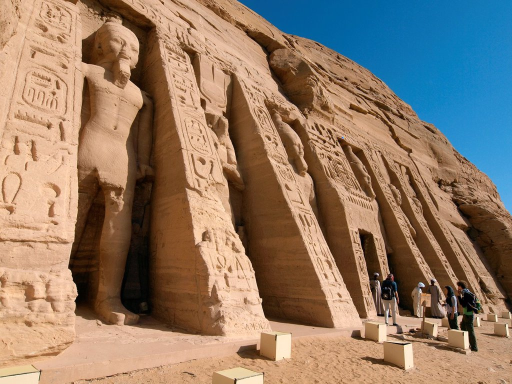 Stock Photo: 1566-1084049 Abu Simbel temple of Hathor Nefertari Nasser Lake High Egypt