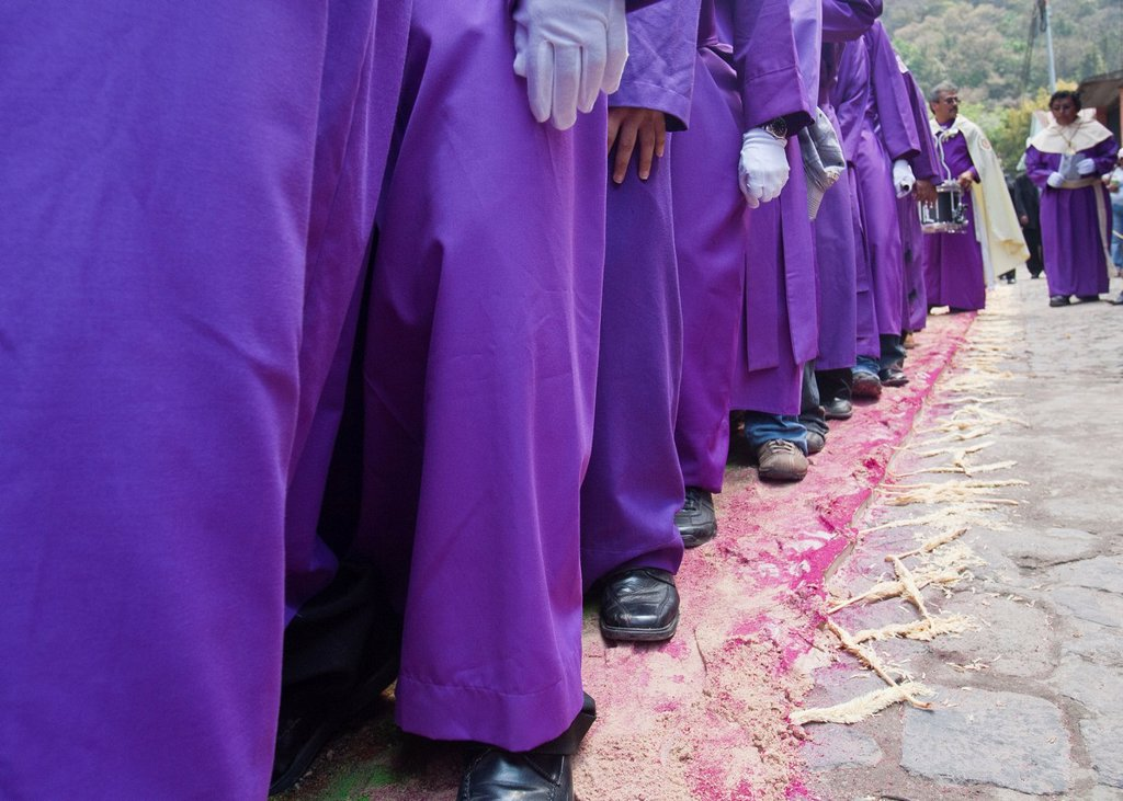 Stock Photo: 1566-1084347 Holy Week procession, Santa Ana, Guatemala