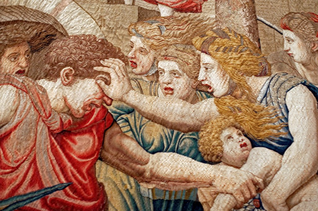 detail of one of tapestries in Vatican Museum, Vatican : Stock Photo