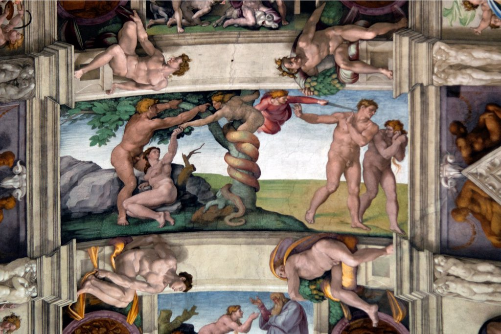 Stock Photo: 1566-1084554 Michelangelo´s famous Expulsion from Paradise, central panels of ceiling frescoes , Sistine Chapel, Vatican Museum, Rome, Italy