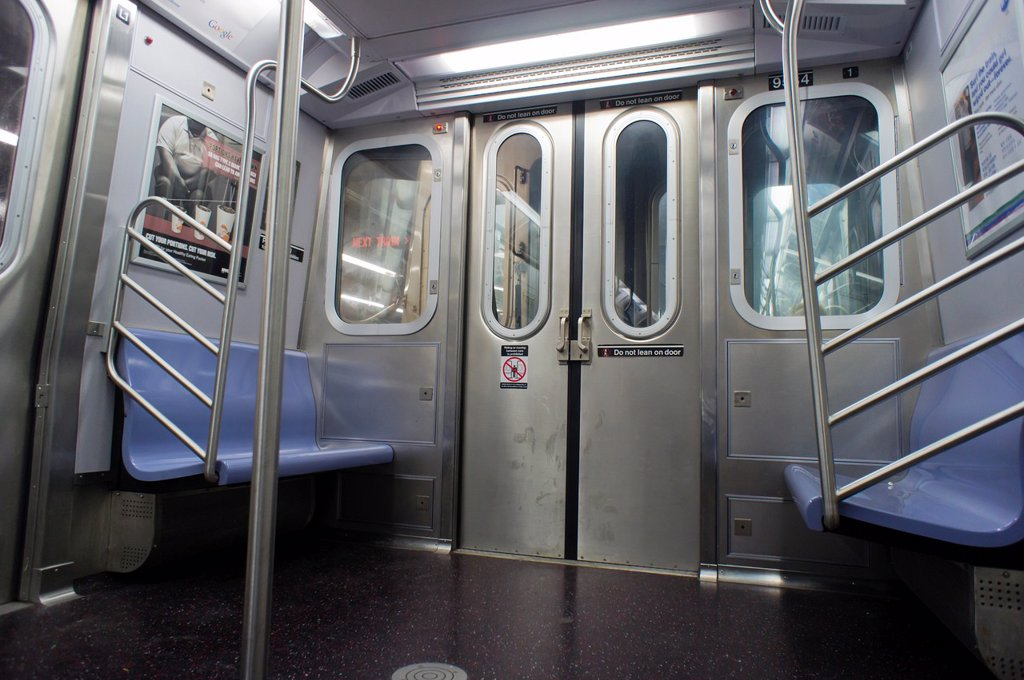 Stock Photo: 1566-1085017 An empty New York City Transit Authority subway car on the ´E´ line, seen at its World Trade Center terminus