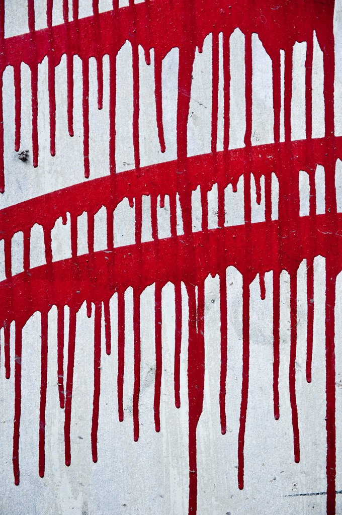 Red paint on wall : Stock Photo