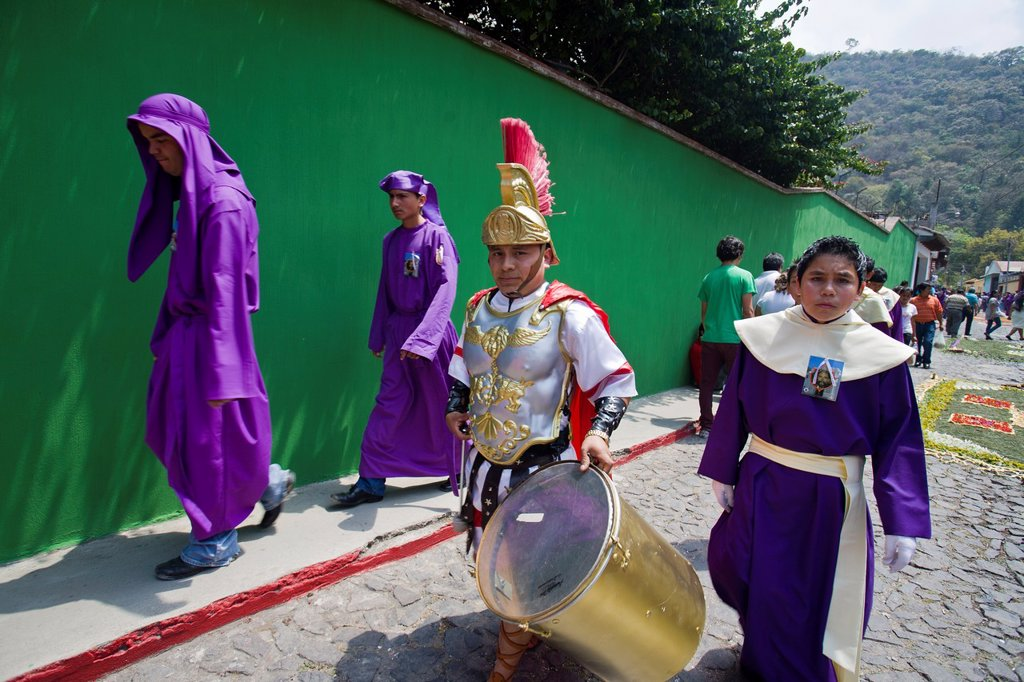 Stock Photo: 1566-1085263 Holy Week procession, Santa Ana, Guatemala