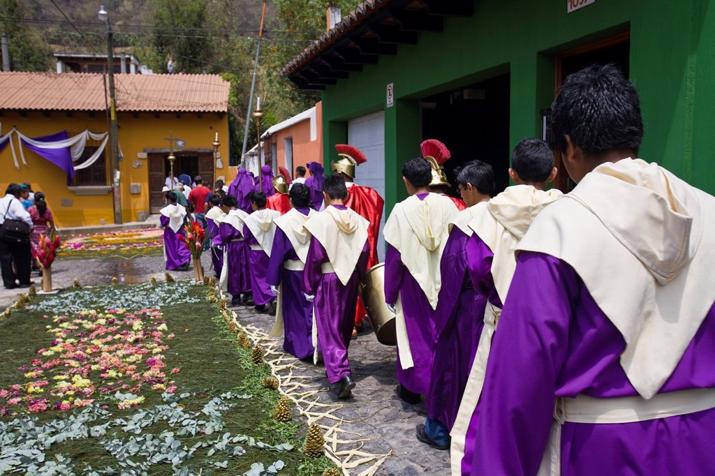 Stock Photo: 1566-1085264 Holy Week procession, Santa Ana, Guatemala