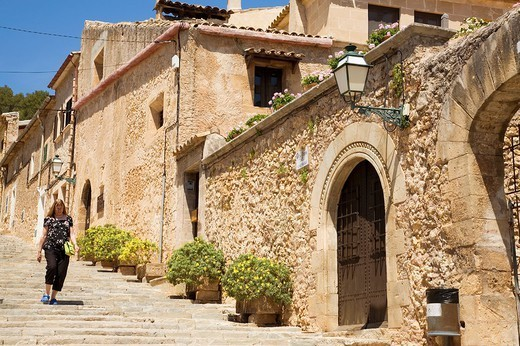 Stock Photo: 1566-1085412 Pollença. Stairs to Calvary: 365 step stairway  leads up to a chapel on top of the hill known as Calvary. Serra de Tramuntana (World Heritage Site by UNESCO). Majorca. Balearic Island. Spain.