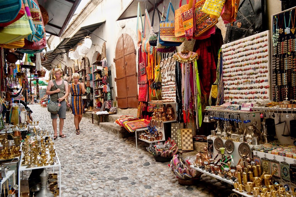 Stock Photo: 1566-1085452 Souvenirs shops in a cobbled street known as Kujundziluk in Mostar old town Bosnia- Herzegovina  Balkans Europe