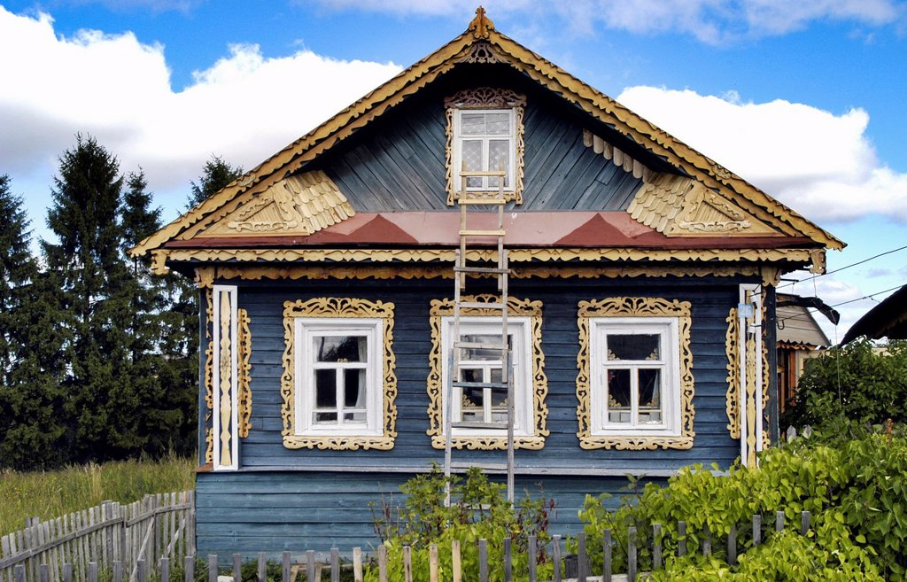 Stock Photo: 1566-1085870 Russia, Goritzy, Vologda Oblast A local house under renovation