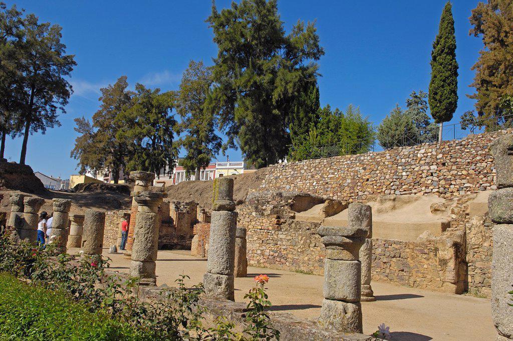 Stock Photo: 1566-1086109 Roman theatre, Mérida, UNESCO World Heritage site, Badajoz province, Extremadura, Ruta de la Plata, Spain, Europe
