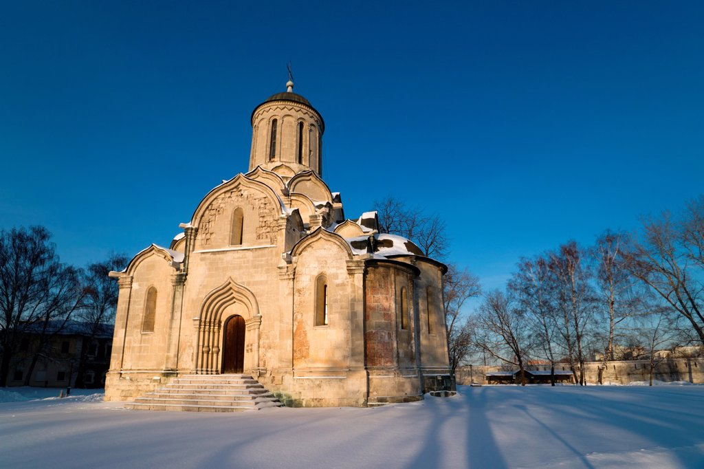 Cathedral of the Savior 1420-1427 of St  Andronik monastery in Moscow : Stock Photo