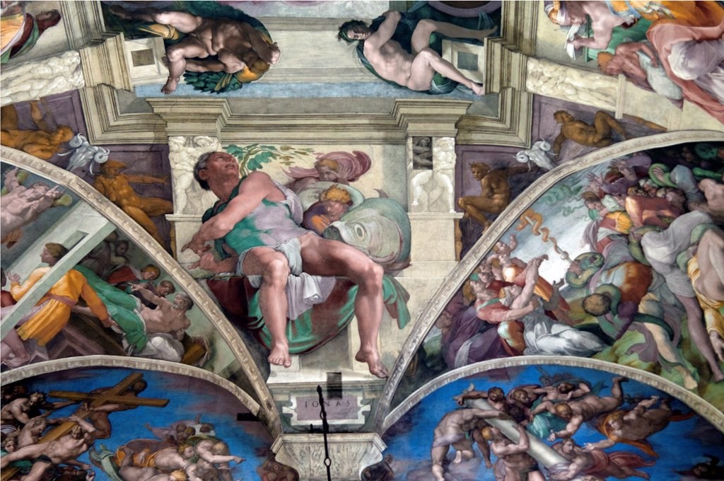 Stock Photo: 1566-1086331 Michelangelo´s frescoes of Seven Prophets, Jonah IONAS, above the altar, Sistine Chapel, Vatican Museum, Rome, Italy