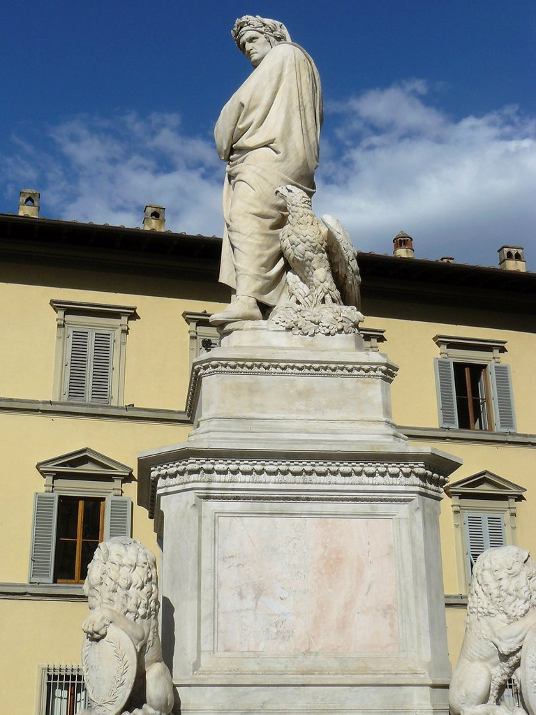 Stock Photo: 1566-1086558 Florence Italy  Sculpture of Dante next to the church Santa Croce in Florence