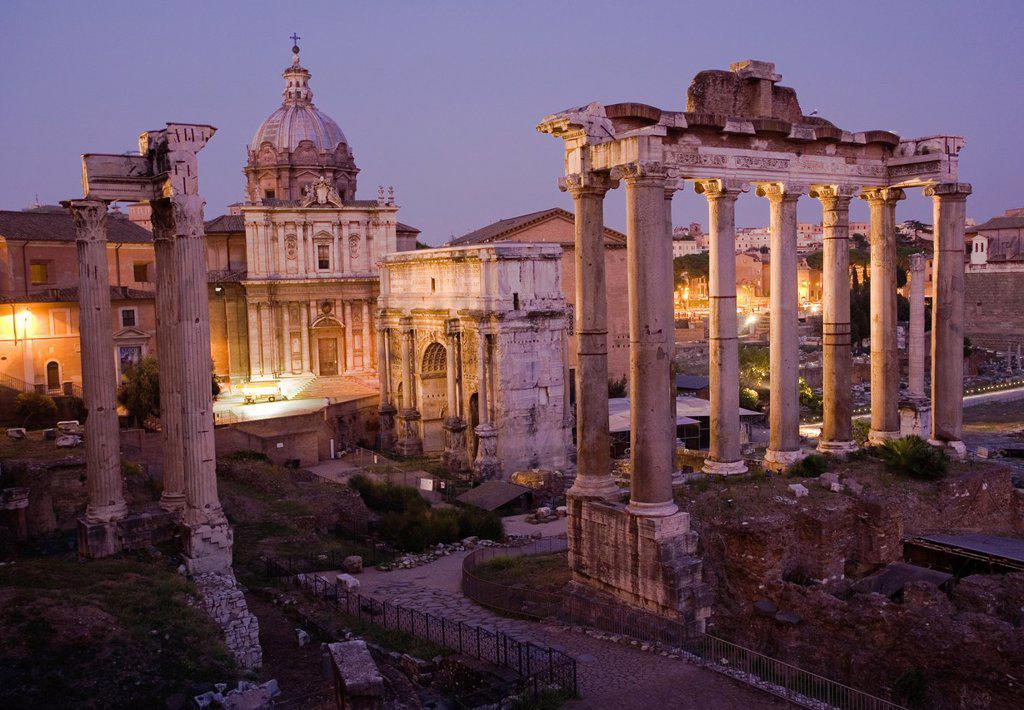 Stock Photo: 1566-1086713 Columns of the Temple of Vespasian, Church of Santi Luca e Martina, Arch of Septimius Severus, Temple of Saturn, Forum Romanum, Roman Forum, Rome, Lazio, Italy, Europe