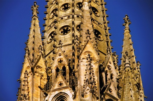 France, Aquitaine, Gironde, tower of the Saint Michel church, at Bordeaux : Stock Photo