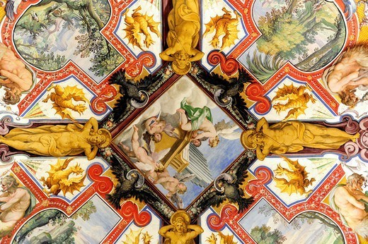 Rome, Italy  Paintings on the ceiling of the Vatican Museums. : Stock Photo