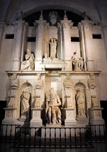 Stock Photo: 1566-1087483 Rome, Italy  Michelangelo´s Moses in San Pietro in Bincoli Church.