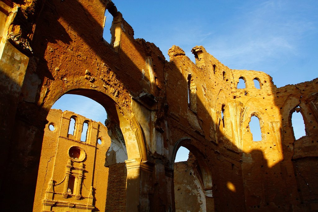 Stock Photo: 1566-1087828 Church of San Martin de Tours and Convent of San Rafael, Belchite Old Town Ruins of the Spanish Civil War 1936-1939 Zaragoza, Aragon, Spain