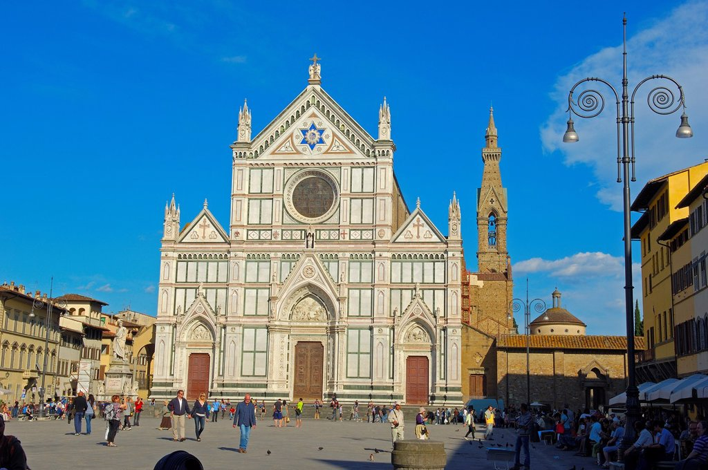 Stock Photo: 1566-1088088 Basilica of Santa Croce on Piazza di Santa Croce square, Florence, Tuscany, Italy, Europe