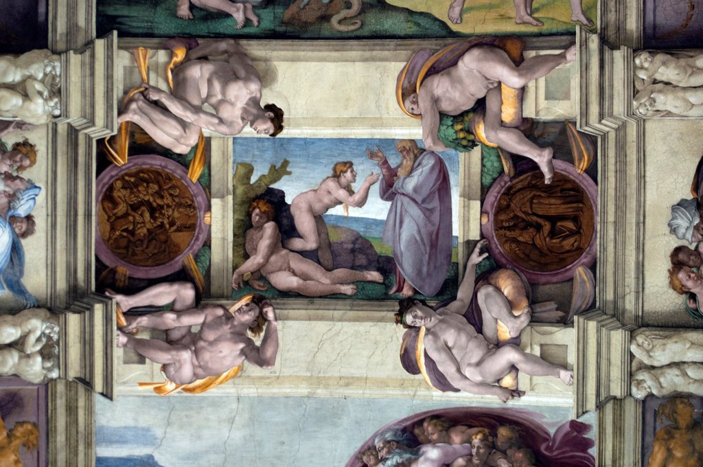 Stock Photo: 1566-1088308 Michelangelo´s stories from Genesis, central panels of ceiling frescoes , Sistine Chapel, Vatican Museum, Rome, Italy