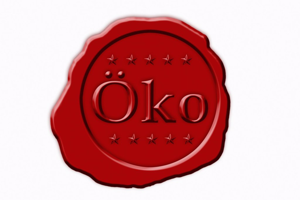 Stock Photo: 1566-1088311 Detail photo of a red seal with the German inscription Eco Oeko