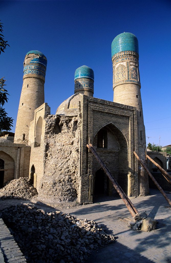 Bukhara, Uzbekistan  Char Minar after the earthquake in 1998. : Stock Photo