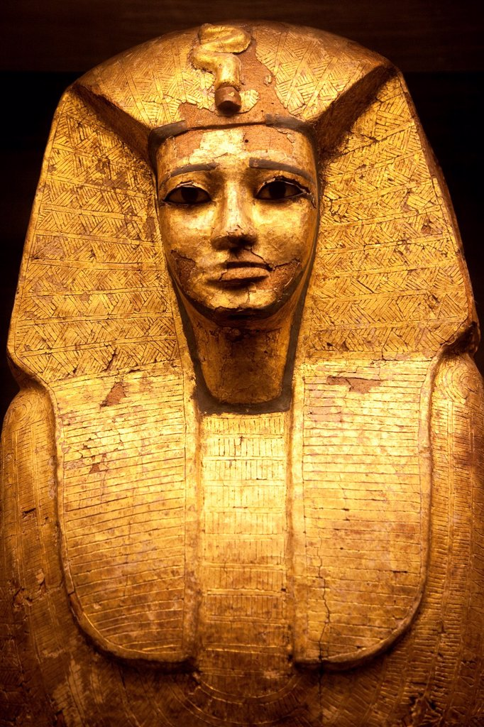 Gold leaf coffin of Egyptian Pharaoh believed to be Sekhemre Upmaat from the vault of Osiris on display at Musee du Louvre : Stock Photo