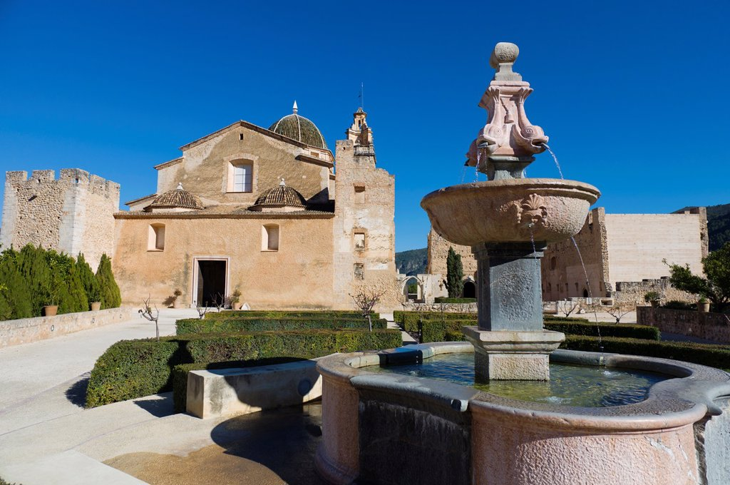Stock Photo: 1566-1088793 Sta Maria de la Valldigna, old convent in Simat de Valldigna, Valencia, Spain