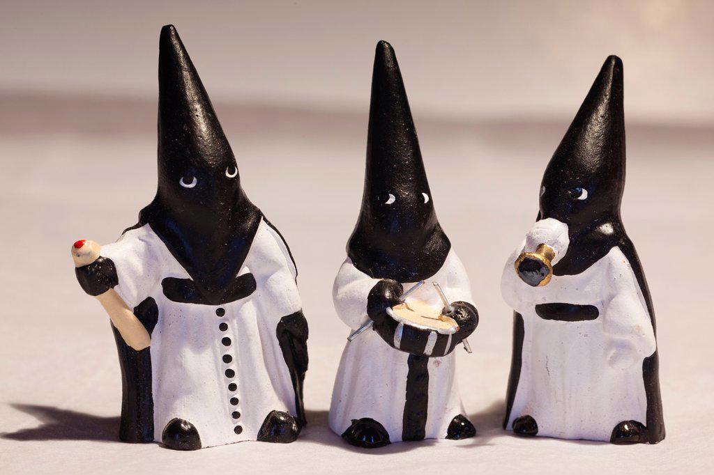 Spain, Madrid, souvenir penitentes, miniature Spanish religious procession figures : Stock Photo