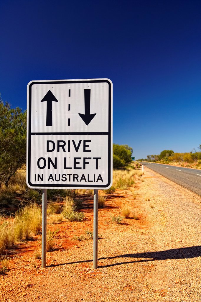 ´Drive on left in Australia´ sign, Australia : Stock Photo