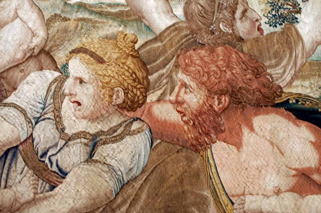 Stock Photo: 1566-1089517 detail of one of gobelins in Vatican Museum, Vatican