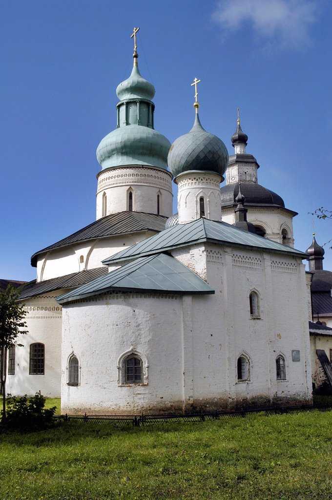 Stock Photo: 1566-1089891 Russia, Goritzy, Church at the Monastery of the Resurrection, founded by Saint Cyril in 1397, Vologda Oblast