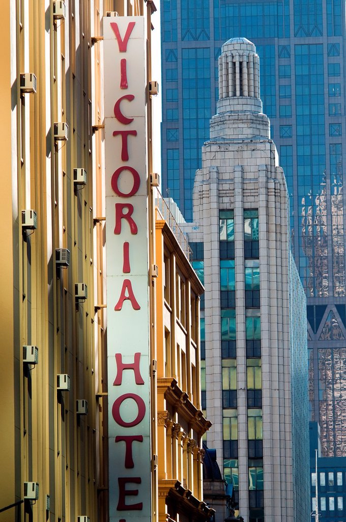 Heritage buildings, Little Collins Street melbourne victoria australia : Stock Photo