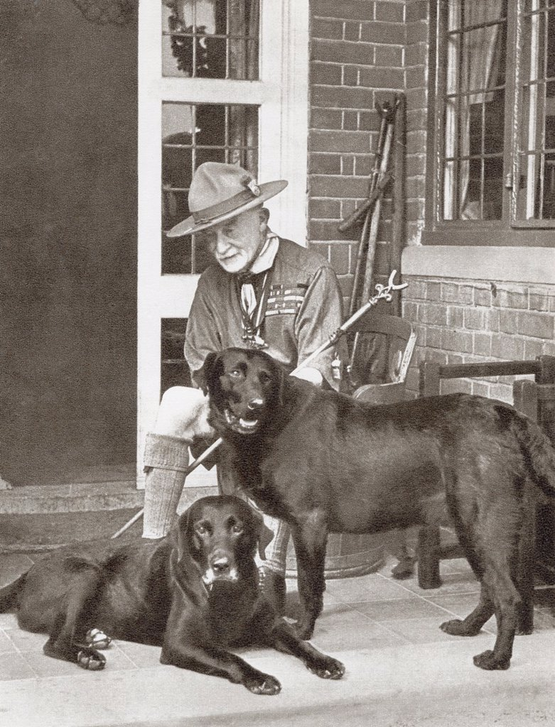 Robert Stephenson Smyth Baden-Powell, 1st Baron Baden-Powell, 1857 – 1941, aka B-P or Lord Baden-Powell  Lieutenant-general in the British Army, writer, and founder of the Scout Movement  From The Story of 25 Eventful Years in Pictures, published 1935 : Stock Photo