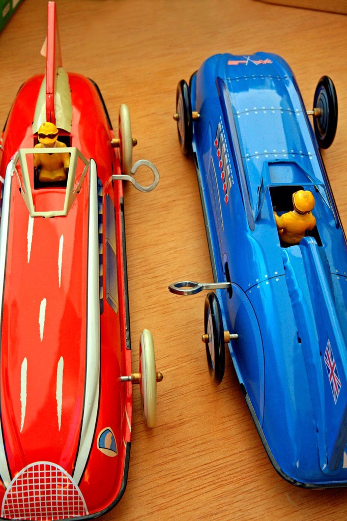 Stock Photo: 1566-1091497 Racing cars, tin toys