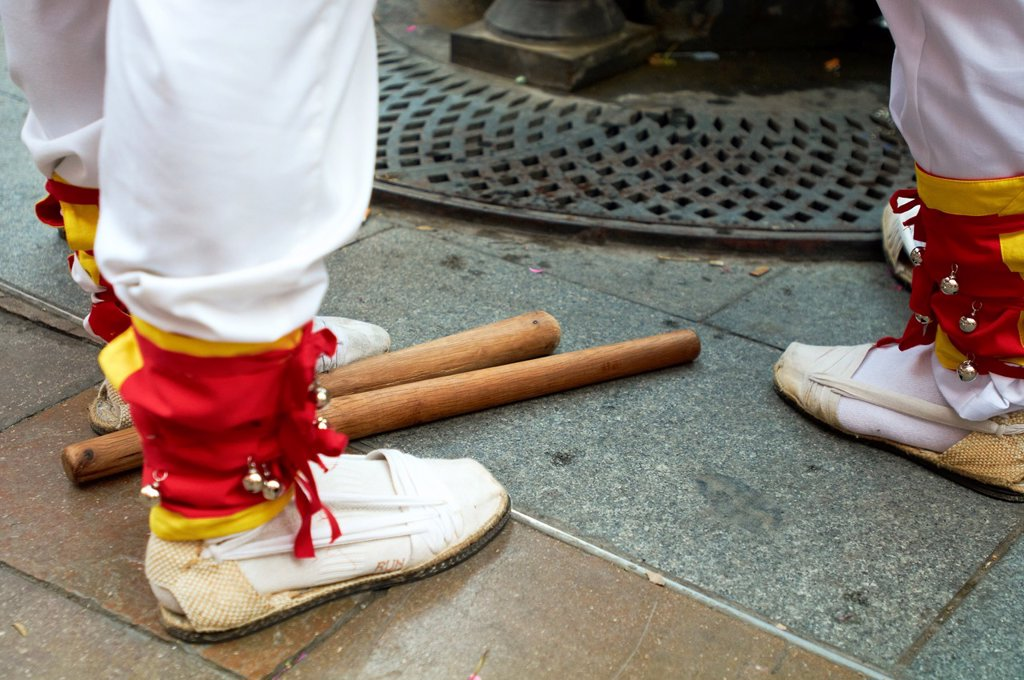 Stock Photo: 1566-1091886 -Espadrilles and Sticks, Traditional Dancers- Cambrils, Catalonia, Spain.