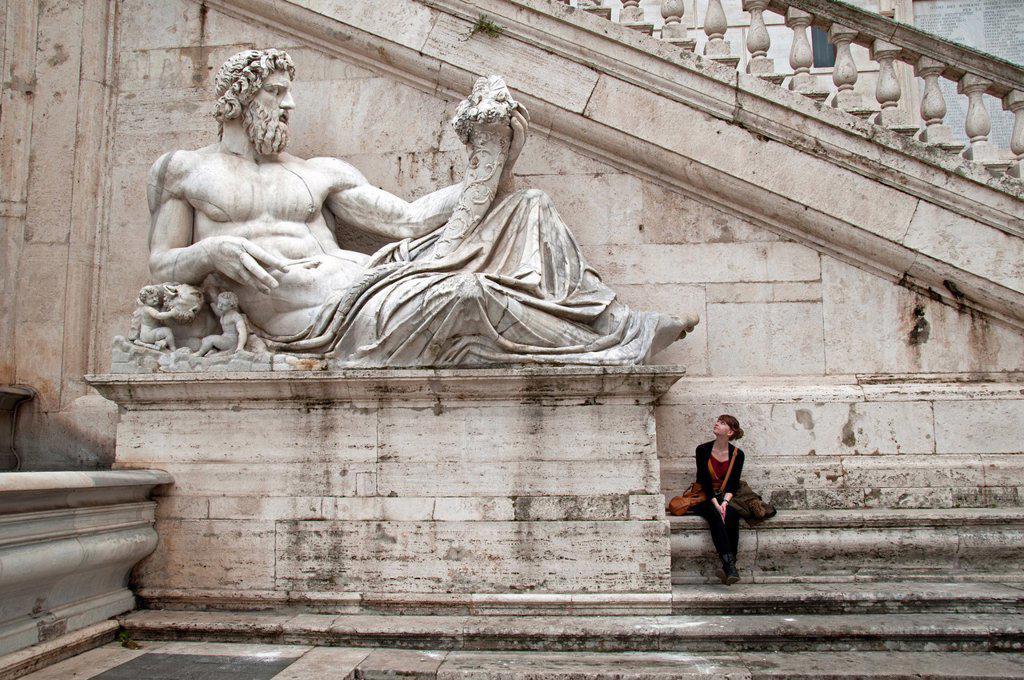 Stock Photo: 1566-1092064 Capitoline Museum, Musei Capitolini, Capitoline Hill, Piazza del Campidoglio, Rome, Lazio, Italy, Europe, Colossal statue of Tiber river God