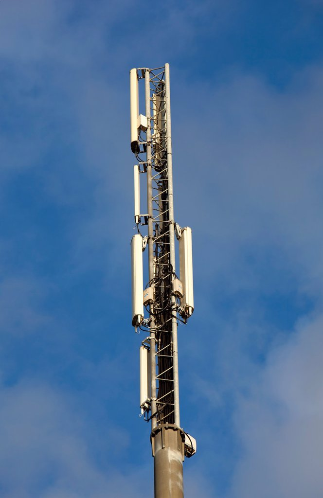 Stock Photo: 1566-1092112 Cellular network antennas on top of a antenna mast  Location Oulu Finland Scandinavia Europe