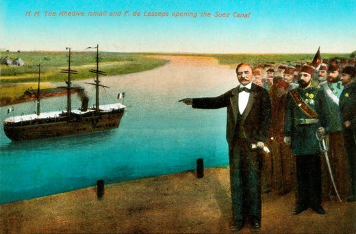 H.H. The Khedive Ismail and F. de Lesseps opening the Suez Canal, Egypt : Stock Photo