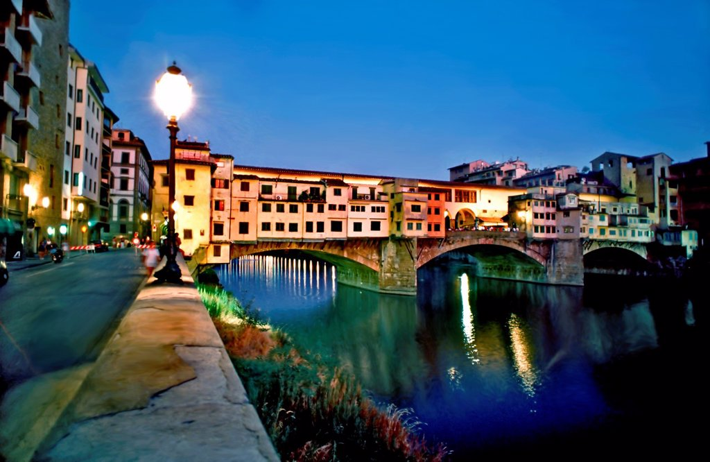 Stock Photo: 1566-1092526 Florence, Italy, Ponte Vecchio, Old Bridge lit up at night, on the River Arno