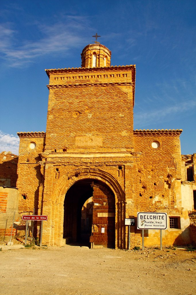 Stock Photo: 1566-1092781 Arco de la Villa, Belchite Old Town Ruins of the Spanish Civil War 1936-1939 Zaragoza, Aragon, Spain
