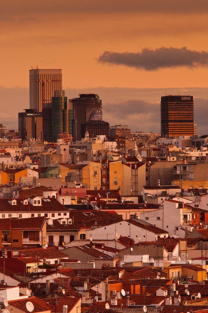 Stock Photo: 1566-1093018 Spain, Madrid, Centro Area, elevated view of office towers in northern Madrid, dawn