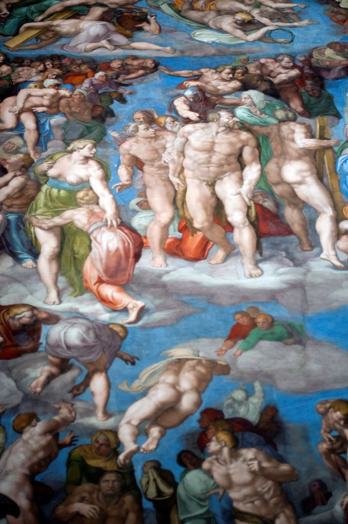 Stock Photo: 1566-1094690 details of Michelangelo´s fresco The Last Judgement, Sistine Chapel, Vatican Museum, Rome, Italy